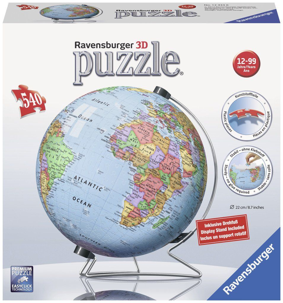 The earth world globe 540 piece 3d jigsaw puzzle 3d jigsaw the earth world globe 540 piece 3d jigsaw puzzle gumiabroncs Gallery