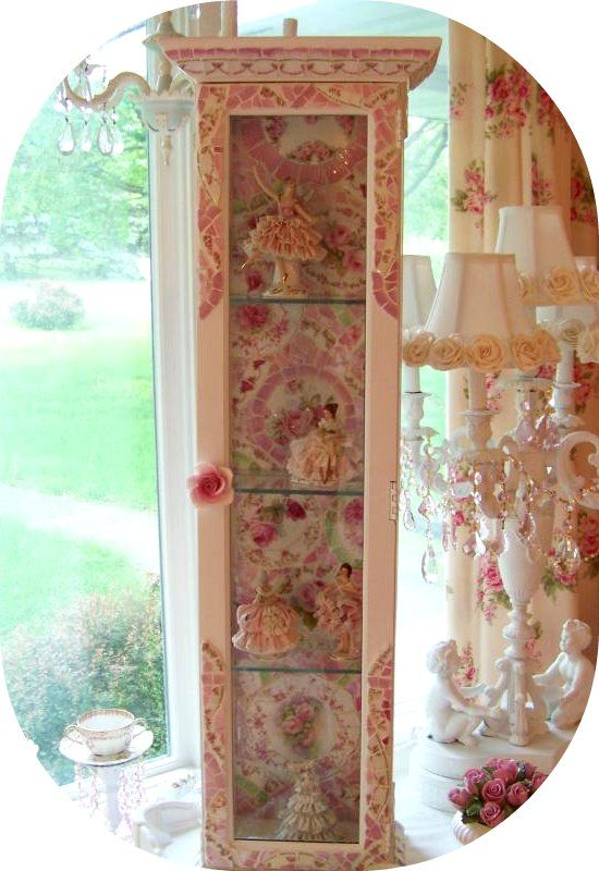 Romancing The Rose Studio Curio, Shabby Chic, Romantic Country, Lighted  Cabinet Www.
