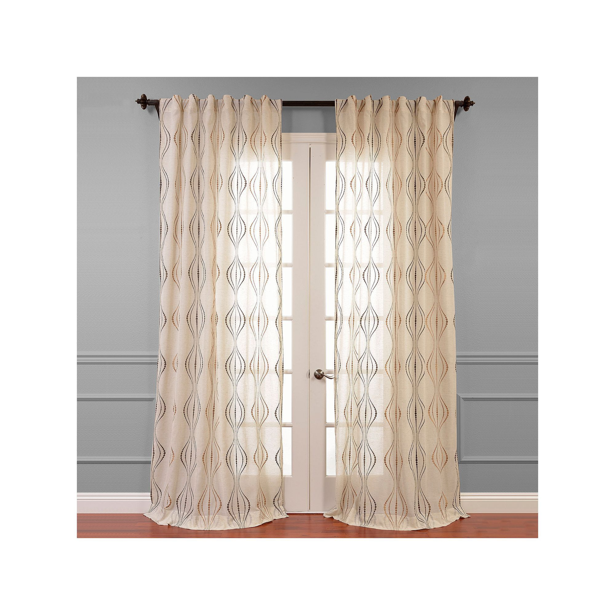 Eff suez embroidered sheer window curtain brown sheer curtains