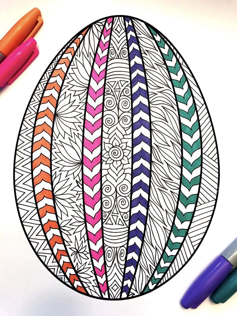 Striped Easter Egg Pdf Zentangle Coloring Page Spring Coloring Pages Easter Drawings Easter Coloring Pages