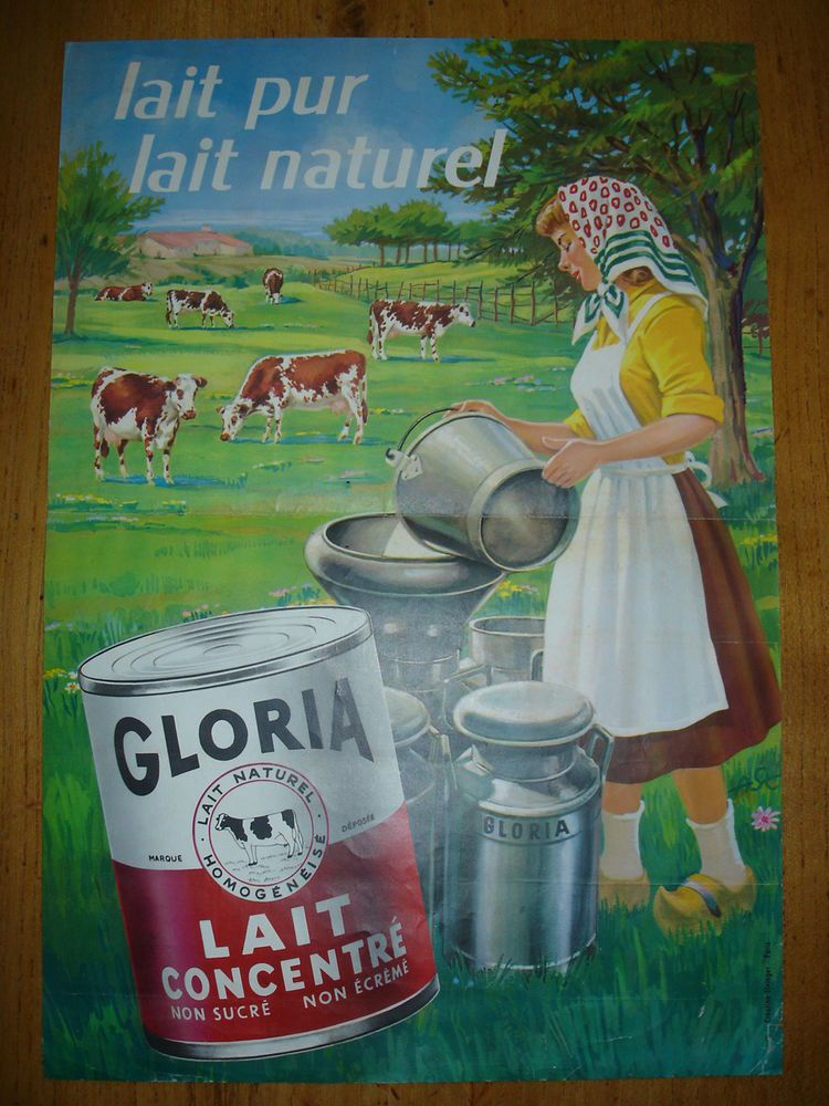 ancienne affiche lait gloria 1960 in collections calendriers tickets affiches affiches. Black Bedroom Furniture Sets. Home Design Ideas