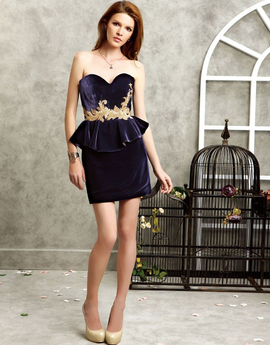 Luxurious silk velvet strapless hand sewn metal embroidery bodice