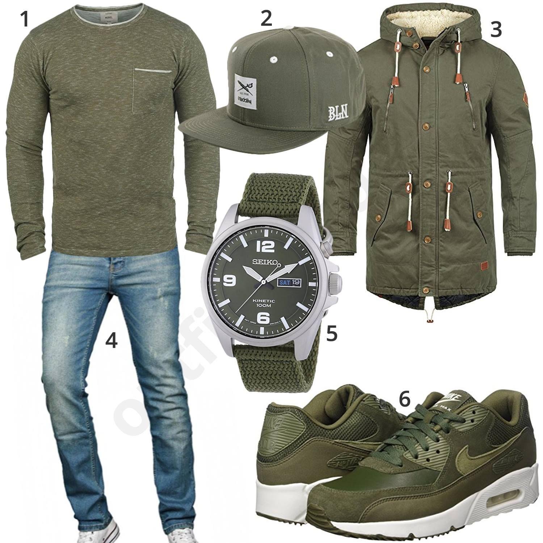 Grünes Herrenoutfit mit Nike, Seiko und Blend | Mens fashion