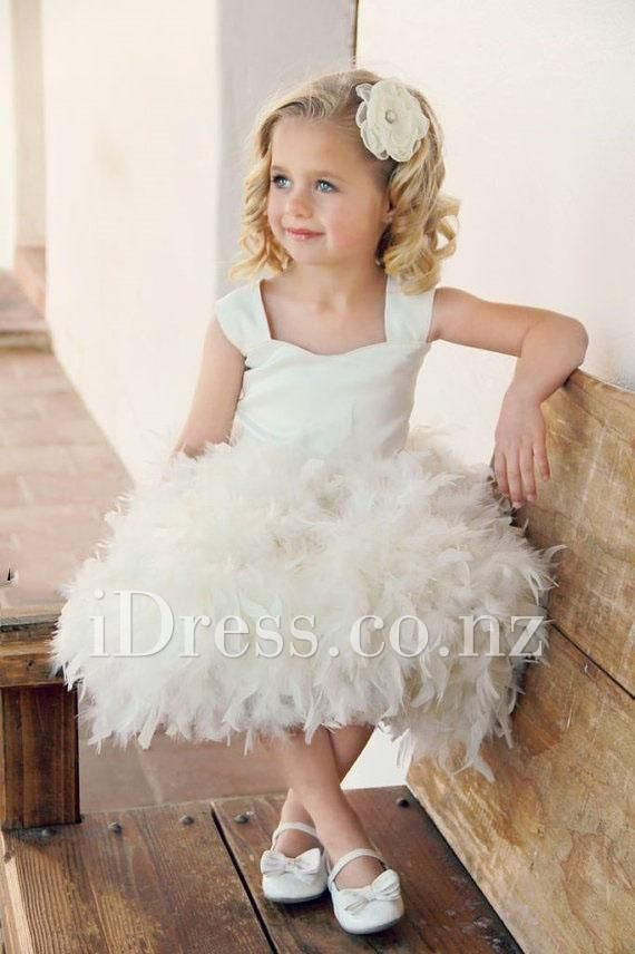 f945b1515be Fairytale Ivory Satin and Feather Tank Bodice Flower Girl Dress for ...