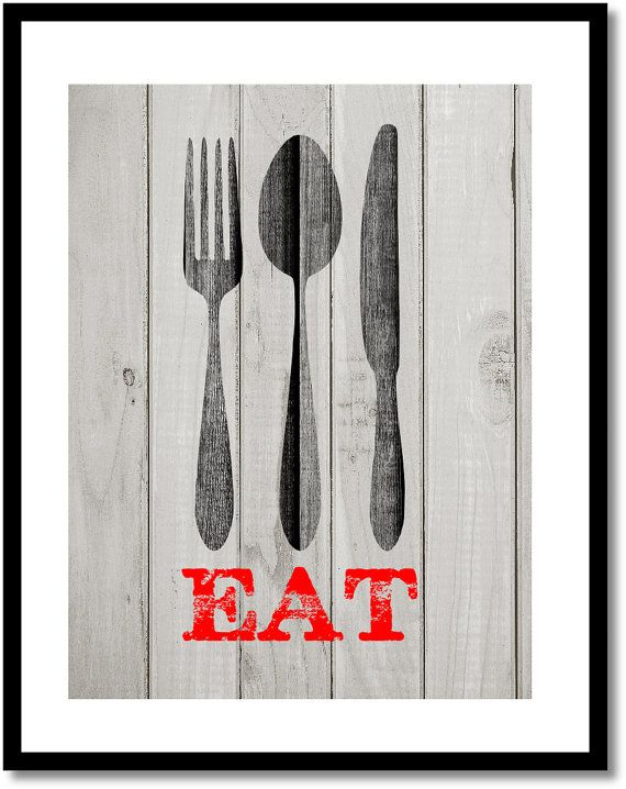 Eat Wall Decor kitchen eat sign, barnwood background, kitchen wall decor, fork
