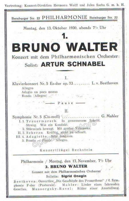 Schnabel, Arthur - Concert Program 1930 Products - concert program