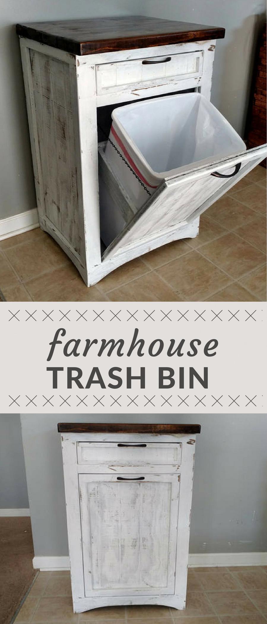Farmhouse style decorative wood trash bin rustic style wood garbage