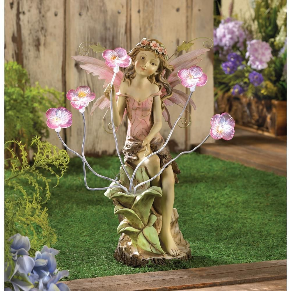 Fairy lawn ornaments - Details About Fairy With Solar Panel Led Light Peony Flower Statue Garden Yard Decor 13915