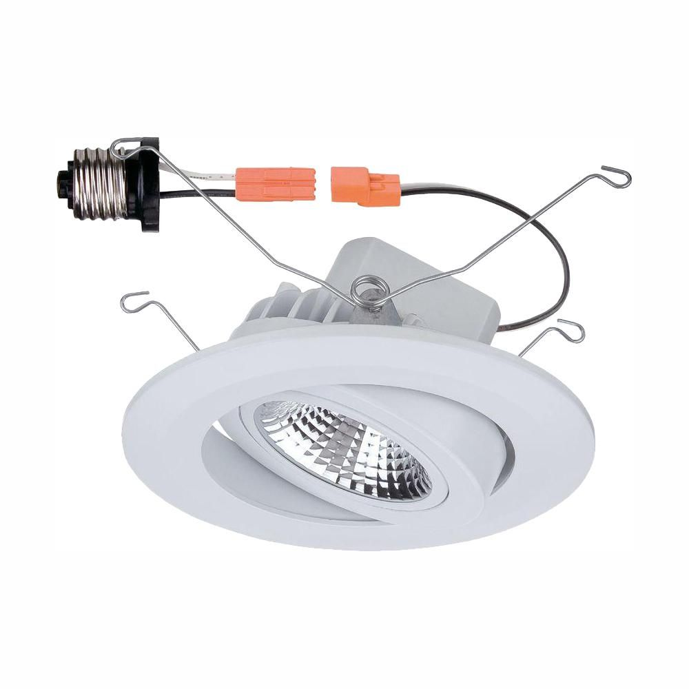 Commercial Electric 5 In White Led Recessed Gimbal Trim