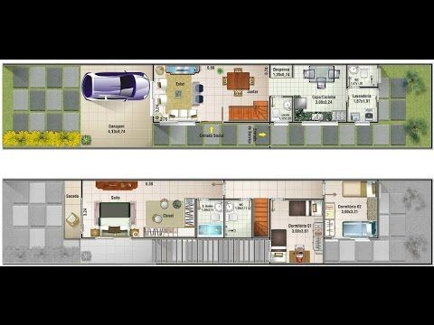 planos de casas 4x20