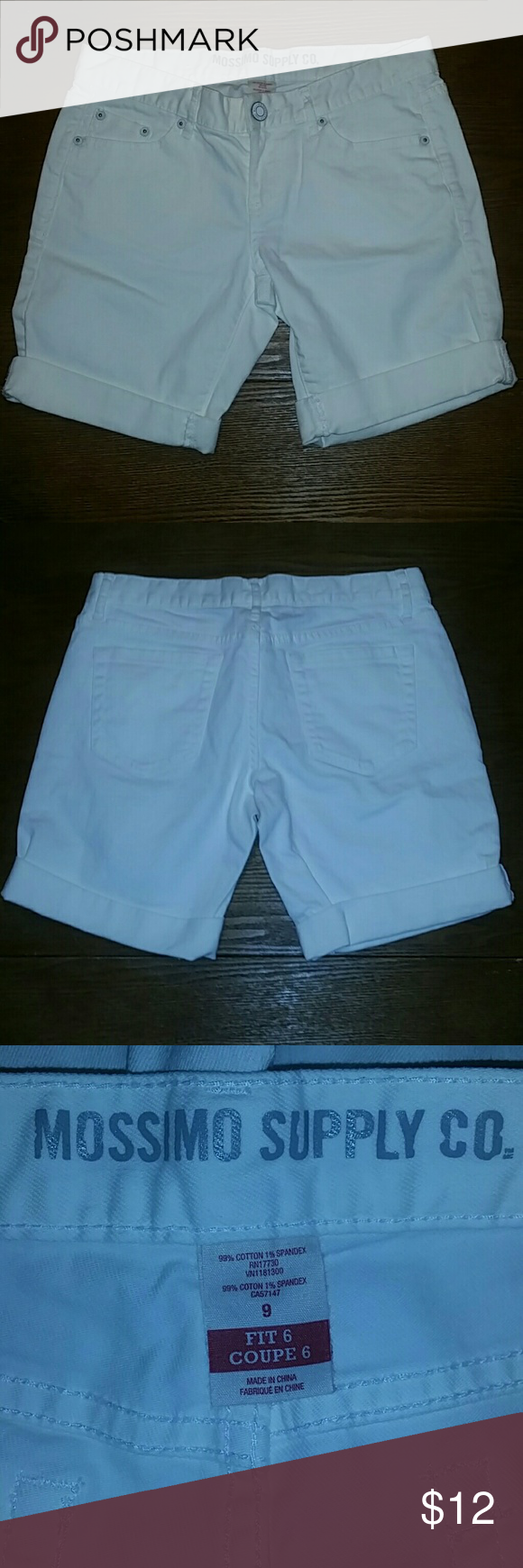 Mossimo White Denim Bermuda Shorts Size 9 Like new (no tags and only wore once) jean shorts from Mossimo Target. Size 9. Button zip closure. Beltloops. 5 pocket. Roll up cuffs. 31 inch waist. 8 inch inseam. Mossimo Supply Co Shorts Bermudas