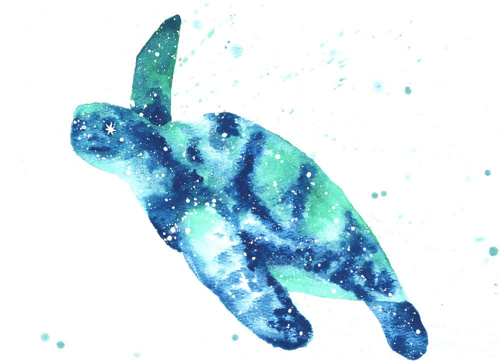 Sea Turtle Spirit Animal Galaxy Painting And Symbolism Turtle