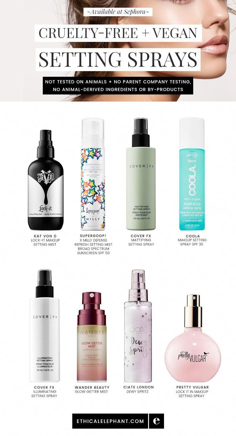 Crueltyfree and vegan makeup setting sprays available at
