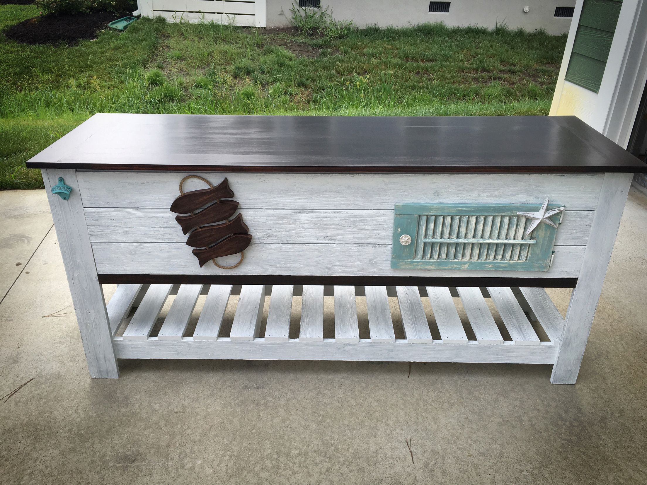 Patio Serving/console Table With Storage. No Cooler In This One, Awesome  Shutter