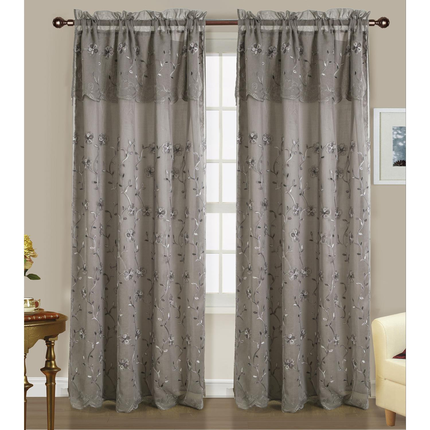 Easton Double Rod Pocket Curtain Panel 54 X 84 18 Attached Valance