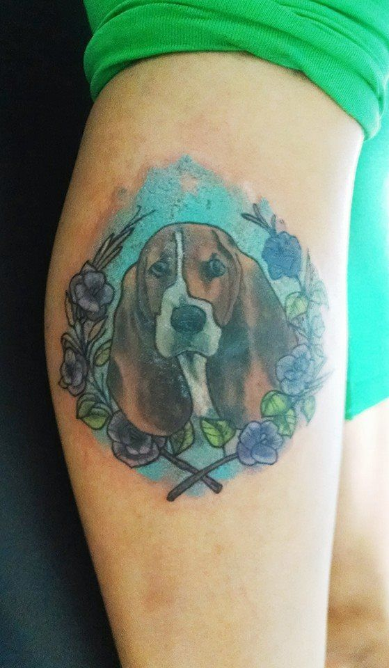 basset hound tattoo. Buru tattoos | Tattoos, Pinterest