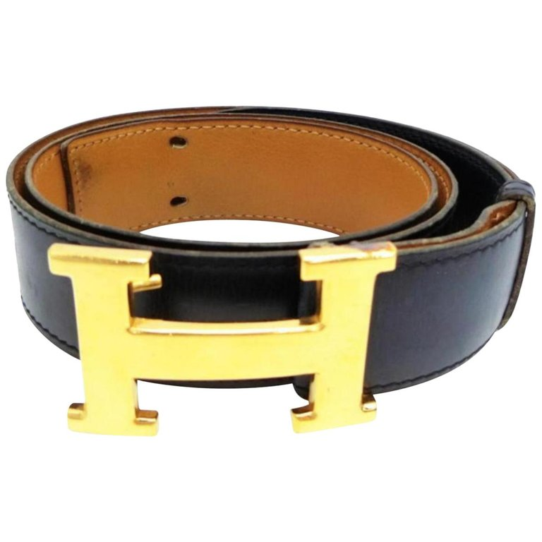 Hermès Navy Blue 32mm Reversible H Logo Kit 230940 Belt