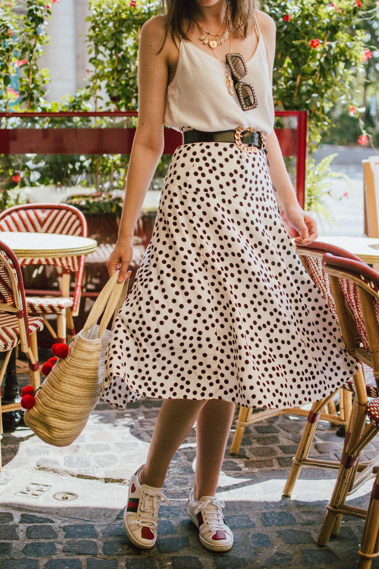 4687c0896e Zara polka dot skirt, white cami top, gucci ace heart sneakers, cherry pom  pom straw summer bag, paris, andreea birsan, couturezilla, cute summer  outfit ...