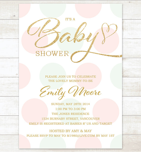 Pink mint gold baby girl shower invitation pink mint gold glitter pink mint gold baby girl shower invitation pink mint gold glitter baby shower invite polka dots printable shower digital invite filmwisefo