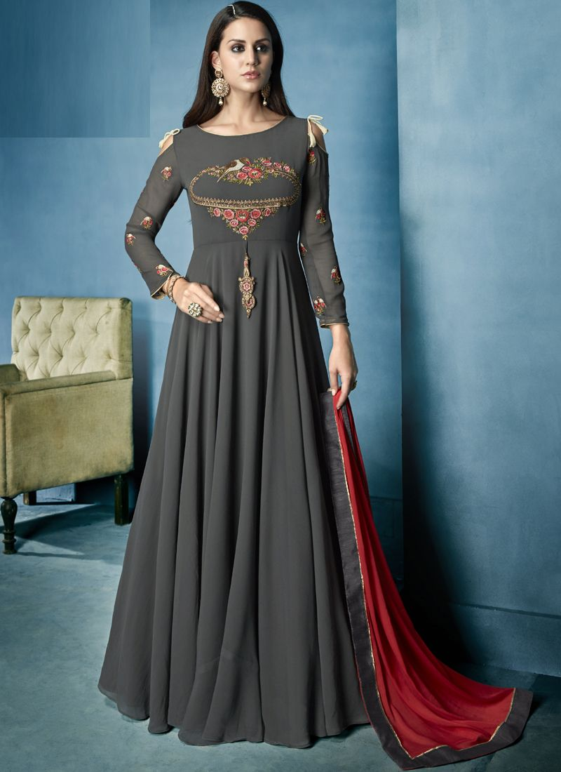 58f0cdc8d Grey Georgette Heavy Embroidery Anarkali Semi-Stitched Suit in 2019 ...