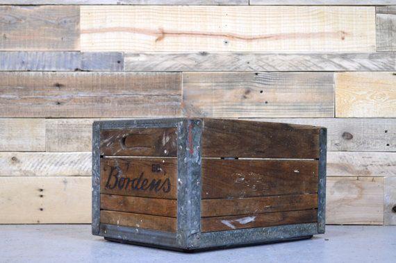 Vintage Bordens Milk Crate Wood Crate Antique Milk Crate Wooden Milk Crate Wood Storage Vintage Wood Crates Milk Crates Wooden Crates Nightstand