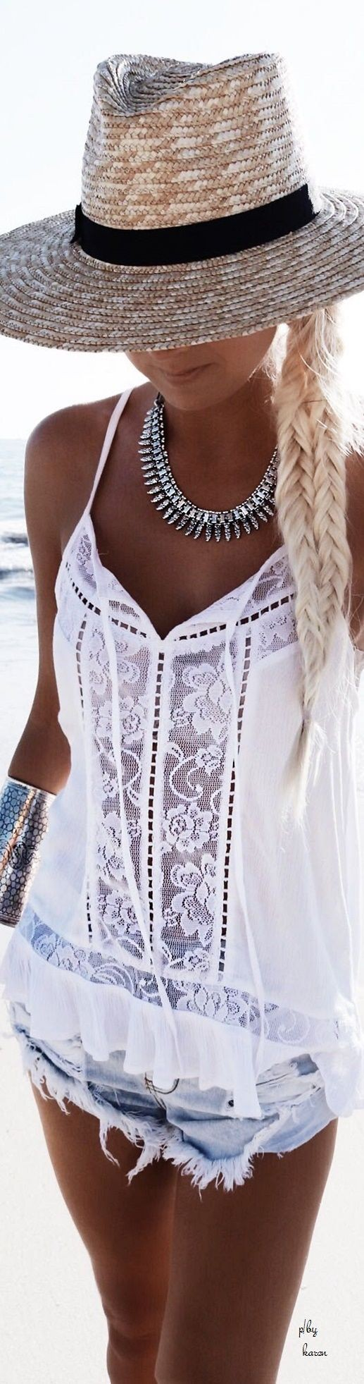 Denim, White Bohemian Lace Top, Hat and Braid.   (White lace & tan, can't beat it).