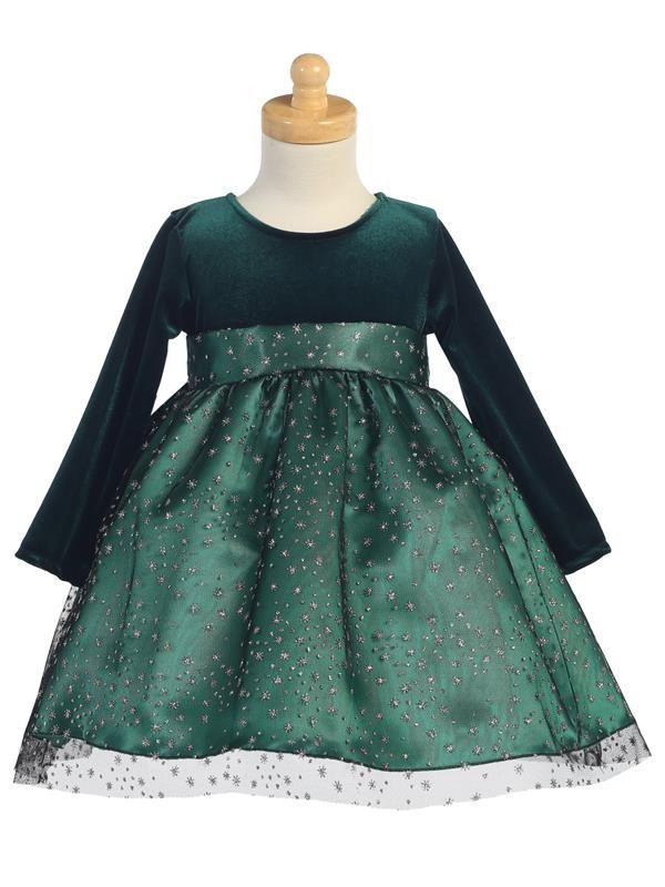 a1f01e63f0 Girls Lito Green Glitter Tulle Dress | Christmas Dresses | Toddler ...