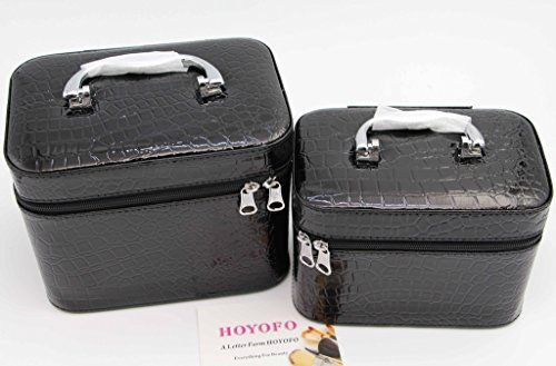 ecfc77f29455 HOYOFO 2-Piece Stone Texture Cosmetic Train Case Set Large Makeup Bags with  Mirror