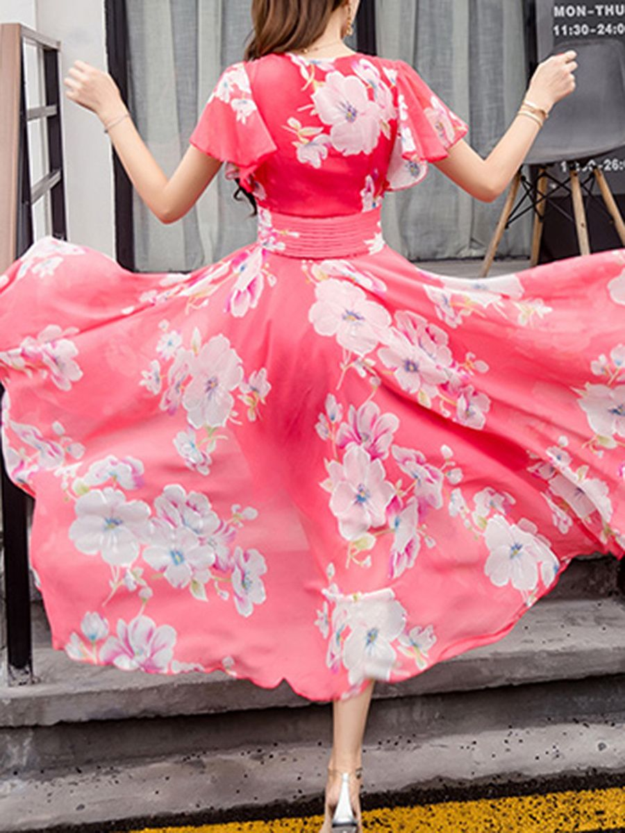 Summer V Neck Floral Printed Chiffon Maxi Dress Maxi Dress Elegant Mini Dress Style Maxi Dress [ 1200 x 900 Pixel ]