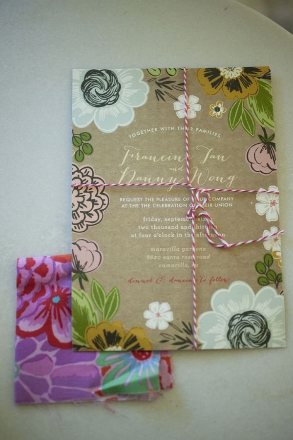 Hand Drawn Anemone Wedding Invitations on Kraft Paper from Wedding Paper Divas | Tikko Weddings | http://heyweddinglady.com/elegan...