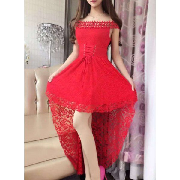 Wholesale Elegant Slash Neck Lace Dovetail Dress For Women Only $8.82 Drop Shipping | TrendsGal.com