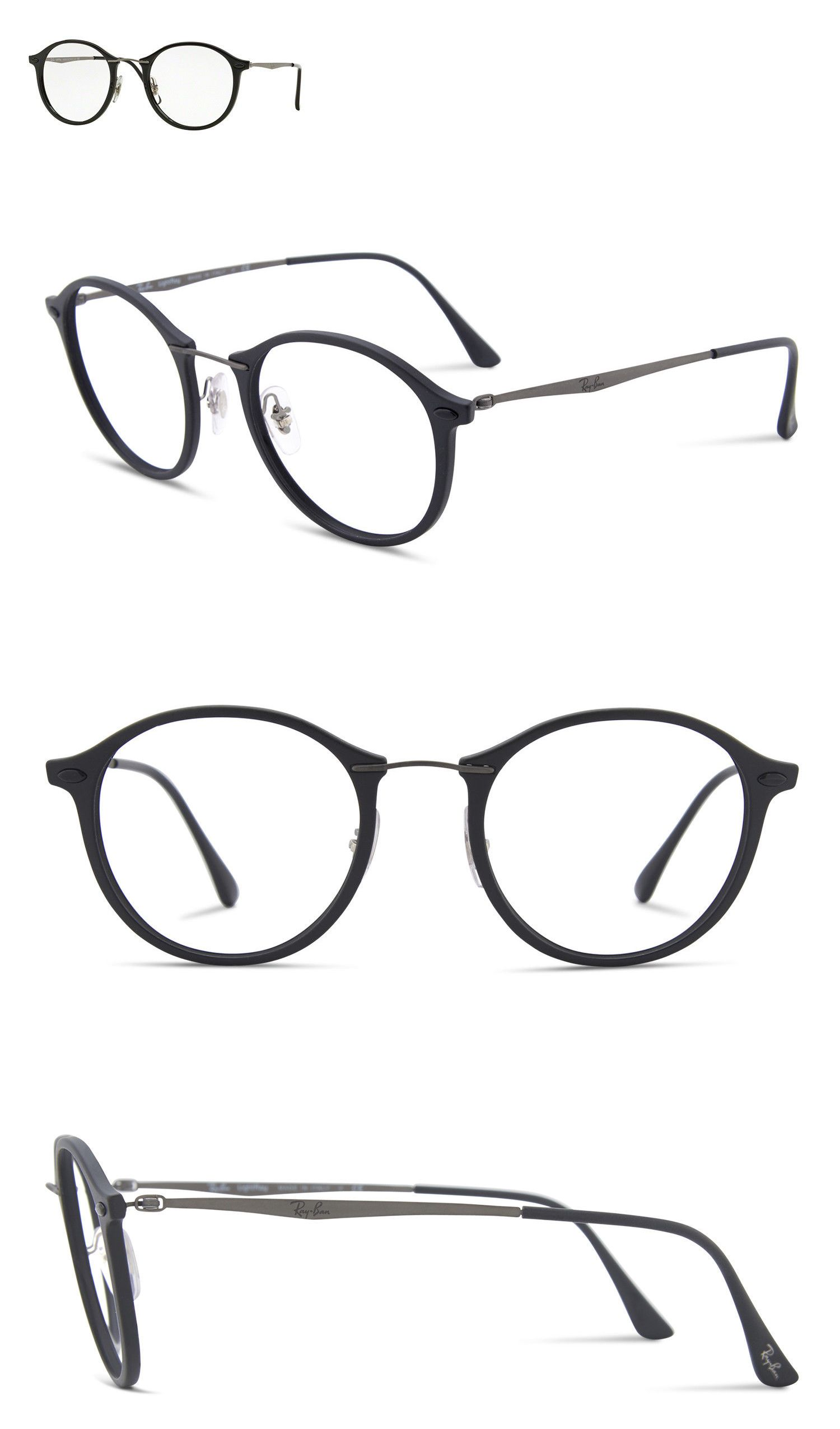 9729bfb422 Fashion Eyewear Clear Glasses 179244  Ray-Ban Rb7073 2000 Lightray Black  Frame W Gunmetal Temples 47Mm Rx Frames  200 -  BUY IT NOW ONLY   69.89 on  eBay!