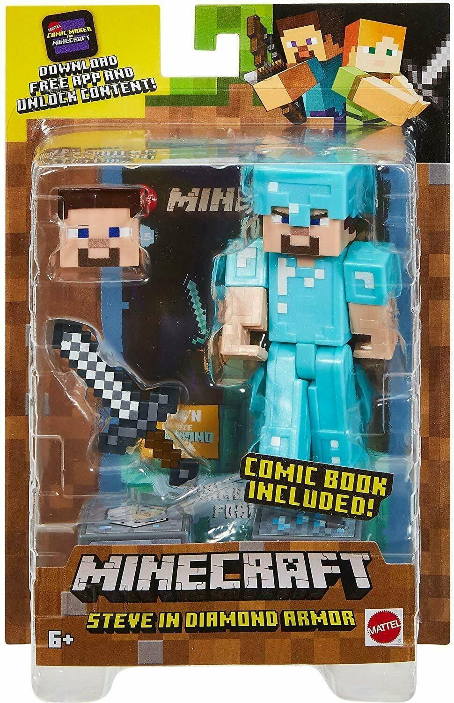 NEW Minecraft Comic Maker Steve in Diamond Armor Action Figure (w