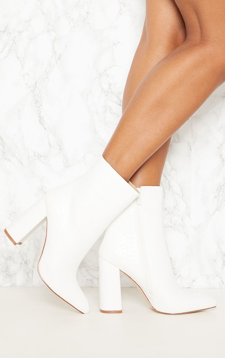 White Faux Snake Ankle Boot | White