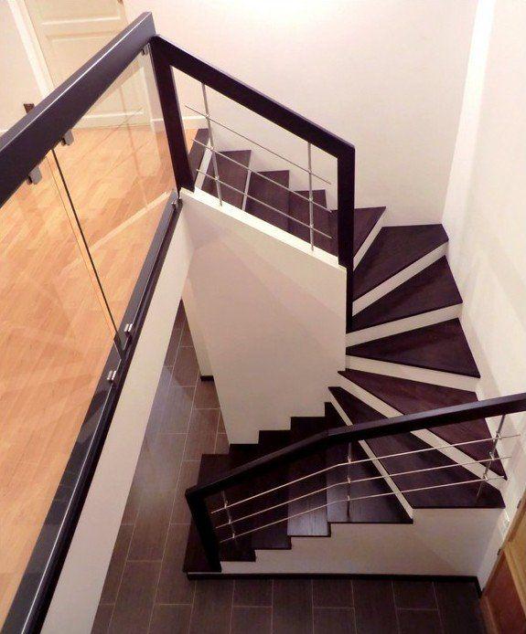Marches en bois sur escalier béton, garde-corps bois, inox et verre - fabriquer escalier exterieur bois