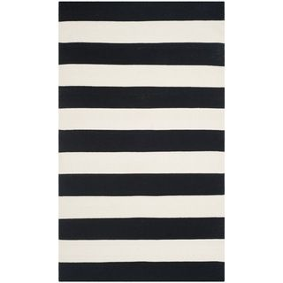 Safavieh Hand-woven Montauk Black/ White Cotton Rug (3' x 5') - Overstock™ Shopping - Great Deals on Safavieh 3x5 - 4x6 Rugs