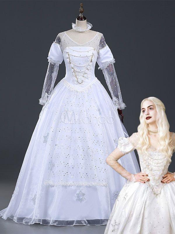 Alice im Wunderland White Queen Movie Karneval Cosplay Kostüm ...