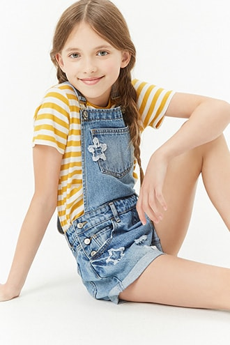 726b55306 Girls Star Patch Distressed Denim Overall Shorts (Kids) | Products ...