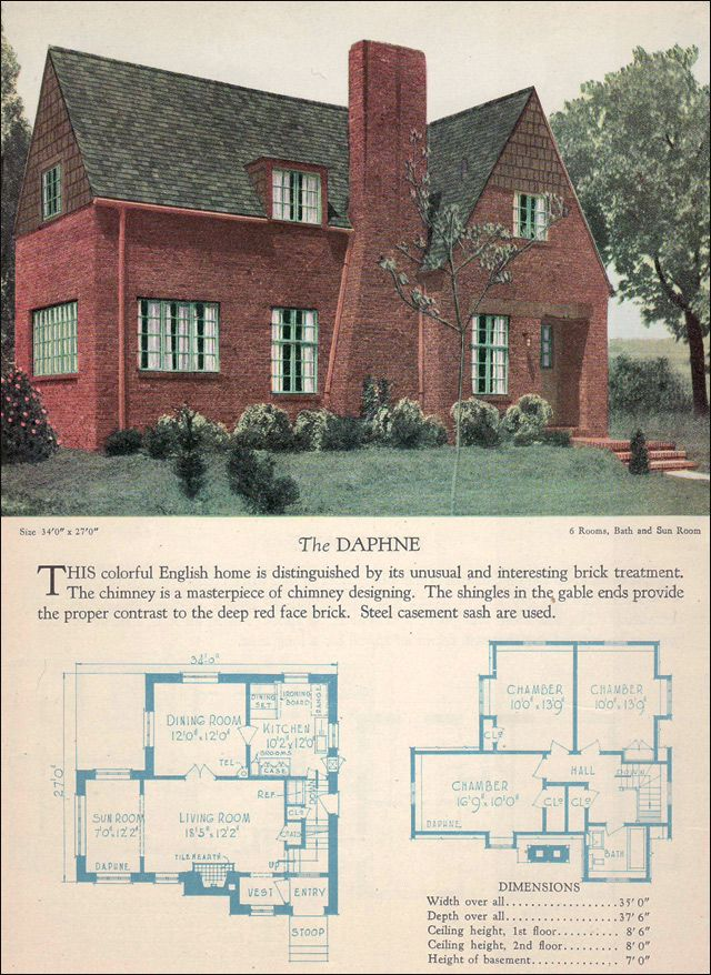 the 1928 daphne modern english face brick home builders catalog american residential - Brick English Home Plans