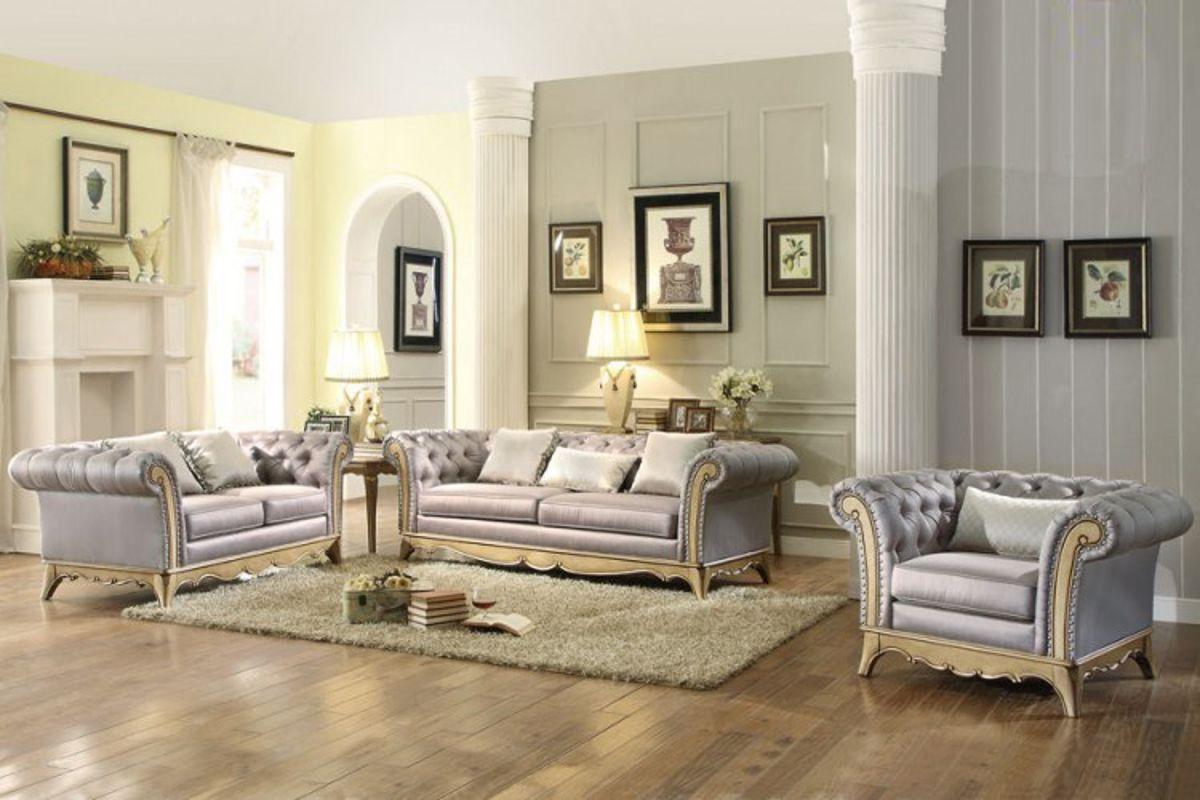 Chambord modern champagne gold wood faux silk living room set
