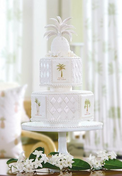White Pineapple Basket Weave Palm Tree Motif Island Wedding Cake