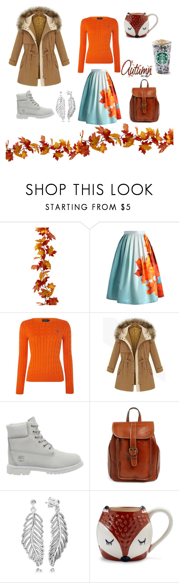 """Autumn beautiful"" by juliesi ❤ liked on Polyvore featuring Chicwish, Polo Ralph Lauren, Timberland, Patricia Nash, Pandora and Sur La Table"