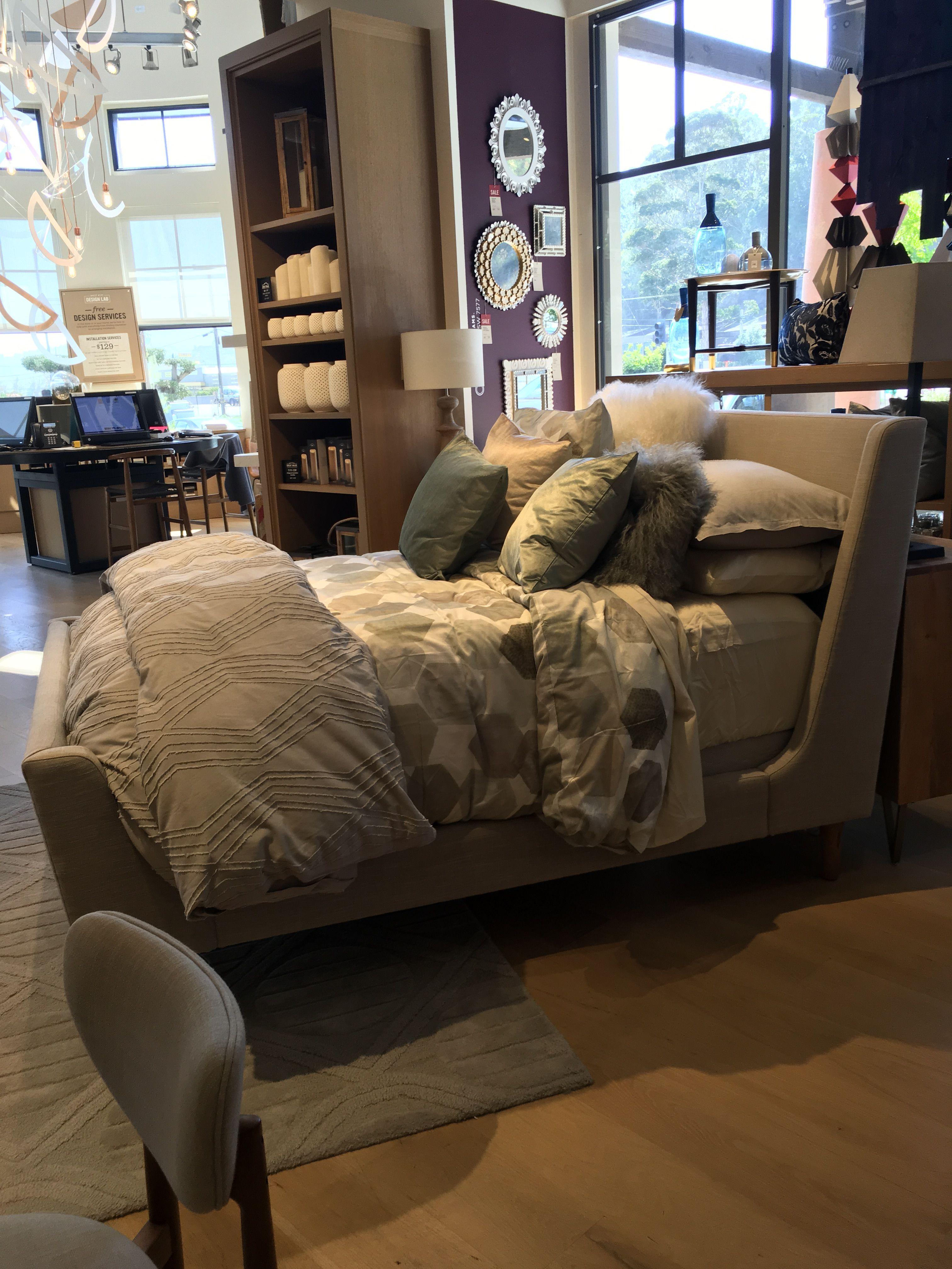 Upholstered sleigh bed king west elm Master bedroom