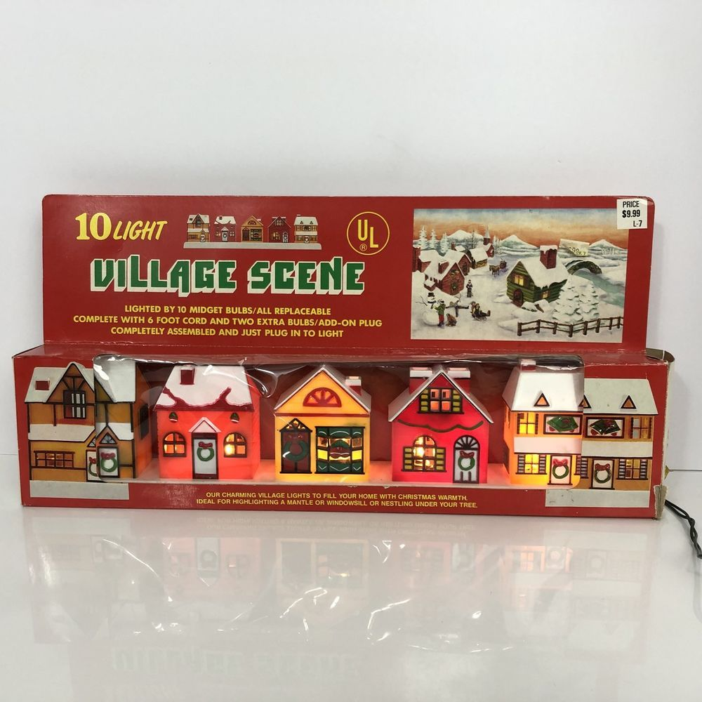 Village Scene Christmas Lights Vintage House Town Mantle