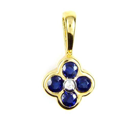 Genuine .41ct Sapphire Diamond Pendant 14KT Yellow Gold