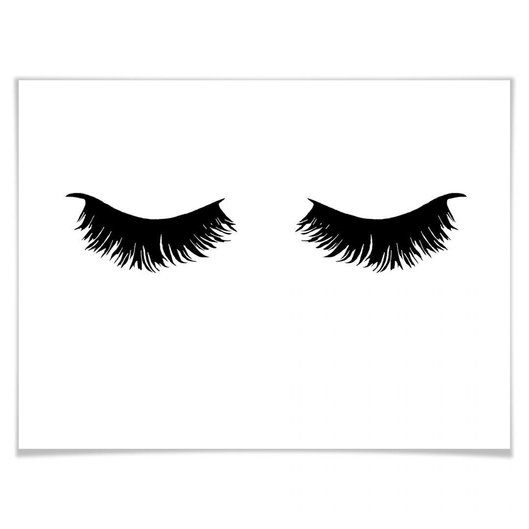 c7105e7413df63 Poster - Lashes 01, Wandbild, Wanddeko, Dekoration, schwarz-weiß Bild,  Wimpern, Augen