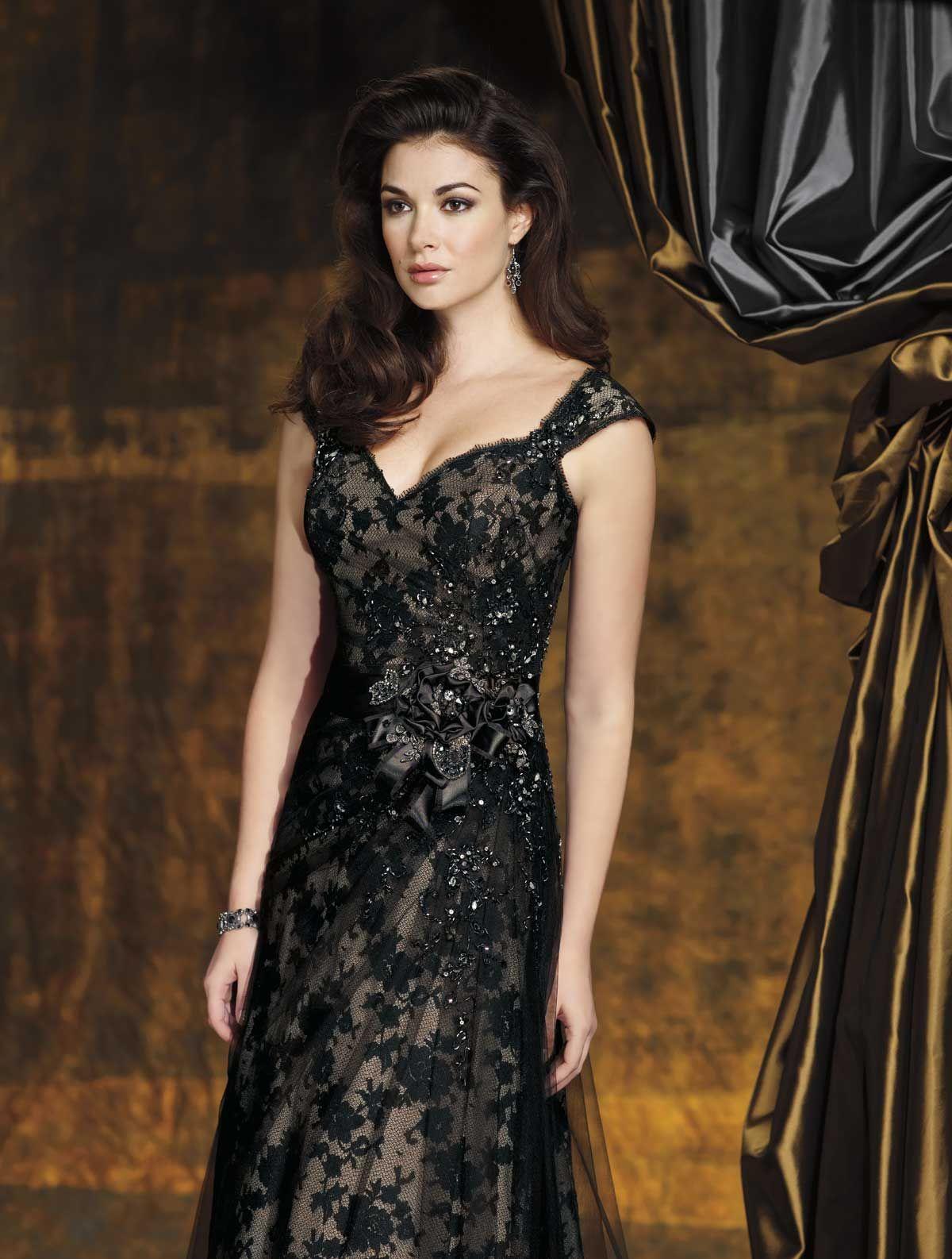 Dramatic illusion black lace wedding dress dream wedding