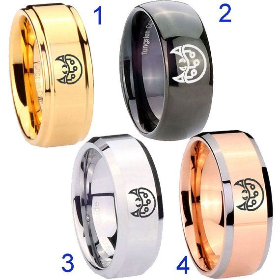 Tungsten Metroid 8MM Gold IP Step Black Dome Wedding Rings by