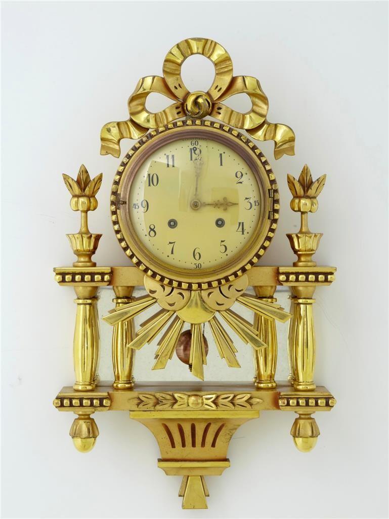 1940\'s Swedish Gilt Ornate Wall Clock by Westerstrand   Retro clock ...