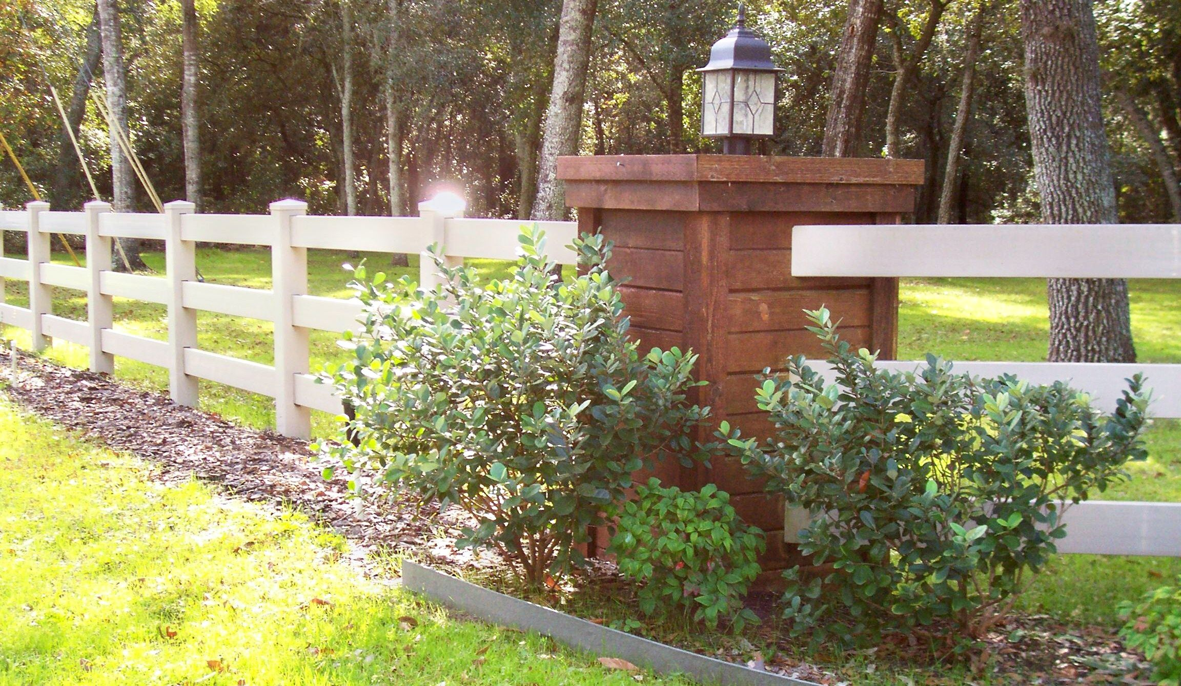 Three Rail White Vinyl Ranch Rail Fence By Mossy Oak Fence